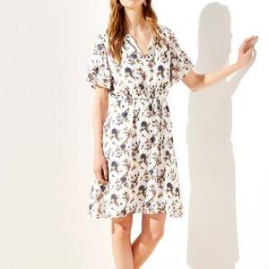 LOFT Floral Ruffled Split Neck Flounce Dress M